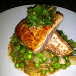 Yellowtail with fava beans and sweet peas