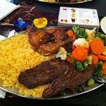 Beef ribs & chicken combo w/rice & veggies
