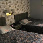 a little blurry, but here were our beds (having our own pillows helped)