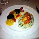 Fish ravioli, arrugula rissoto, Crab