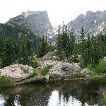 Dream Lake with Hallett Peak and Flattop Mountain in the back