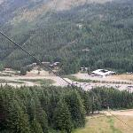 View looking down as we went up the Gondola - Crystal Mtn Hotels & the ski shops are below