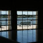 Dance floor and view of lake from large windows