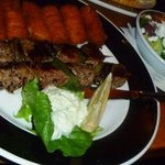 Delicious beef kabob with potatoe croquettes