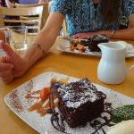 "That's my cousin's thumbs-up ""like"" for the chocolate cake."