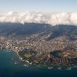 Aerial view of Waikiki and the volcano.