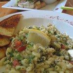 Seafood pasta and veggie sandwich
