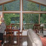 The breakfast table overlooking gorgeous Kenai Lake