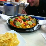 The Best Paella... and Tostones (fried plantain)...