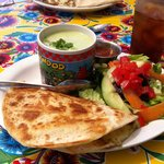 Chicken Quesadilla, small salad and cold cucumber soup