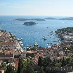 View of the Hvar harbor and hotel from Fortress
