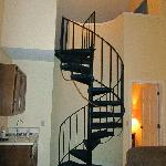 stairs to loft in condo