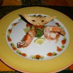 Avocado & shrimp appetizer at the Mexican restaurant