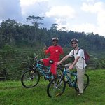On bike with the beautiful rice terraces