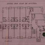 Plano de la segunda planta del hotel