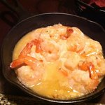 The garlic shrimp! Sizzling hot!