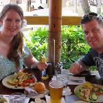 My husband and I enjoying the delicious salad bar