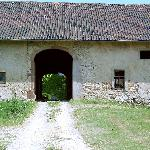 An entrance to the oldest barn