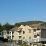 Here's a pic of our building, with the windmills in the background