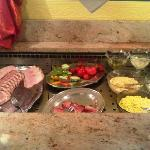 Breakfast, ham and salads