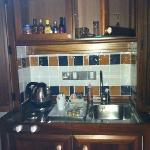 kitchen area behind doors