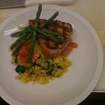 Tuna with roasted asparagus and veggie saffron rice