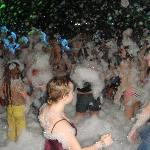 foam party at the hotel`s beach