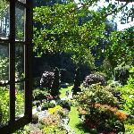 A window view to the sunken garden
