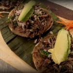 Deer crispy tostadas, fried hand made tortilla topped with shredded Deer meat