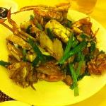 close up of stir fried crab