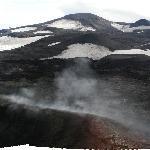 View over lava and glacier
