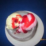 """Napolitana"" Cassata Neapolitan ice cream dessert with red fruits."
