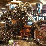 Motorcycle in lobby of TI next door