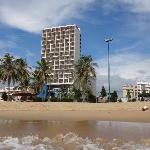 view from a morning swim looking back at Novotel Nha Trang
