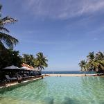 Big pool next to beach restaurant