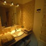 Vue de la salle d'eau (douche + lavabo)