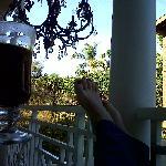 Chandelier on balcony