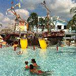 Pirate ship in one of the pools!