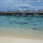 water around the over water bungalows