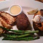grilled lobster, filet, and vegetales
