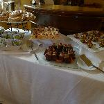 Morning pastries, cakes and chocolate covered strawberries