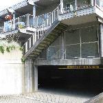 Underground parking entrance.