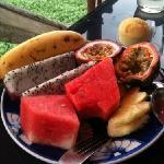 fruit for breakfast on the terrace