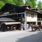 Hotel Alpenstuben in the daytime.  The shop is in front, and the restaurant is in the back.  Roo