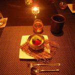 ...creme brulé con gelato al té verde e frutta, ottima!