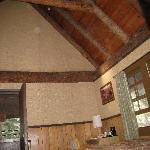 High wood beamed ceilings