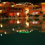 overlooking the pool area at night