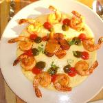 Cajun sauteed Shrimp & Gourmet White Cheddar Grits