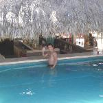 My Son at the pool bar