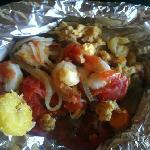 Husband's combo of conch, shrimp, whitefish, plantains and all kinds of goodies